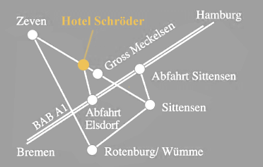 Karte mit Lage und Anfahrt zum Landhotel Schröder zwischen Hamburg und Bremen